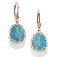 Fashion: trends, outfit ideas, what to wear, fashion news and runway looks - 13 Shimmering Opal Jewelry Finds To Fire Up Your Spring Accessories Game - Rose Gold Drop Earrings, Opal Earrings, Opal Jewelry, I Love Jewelry, Fine Jewelry, Jewelry Design, Dainty Jewelry, Chandelier Earrings, Modern Jewelry