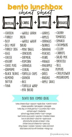 Bento Lunch Box Cheat sheet for a healthy meal prep! Bento Lunch Box Cheat sheet for a healthy meal prep! Lunch Snacks, Lunch Recipes, Healthy Recipes, Bento Lunchbox, Healthy Lunch Boxes, Work Lunches, Diet Recipes, Healthy Lunches For Kids, Lunch Foods List