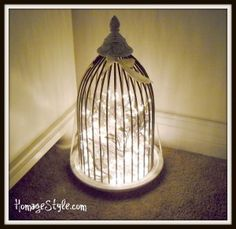 DIY Birdcage Lamp (basically, pile up a string of mini-lights in a bird cage, plug into wall. Nice effect, though :) ) - if you'll be leaving the lights on for a while, use LED for better safety.
