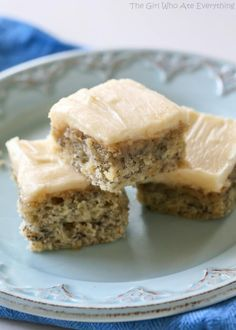 Monkey Squares - a moist banana bread bar with a brown sugar frosting! the-girl-who-ate-everything.com