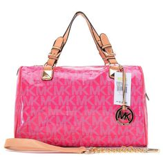 Michael Kors Patent Leather Logo Large Pink Satchels Outlet