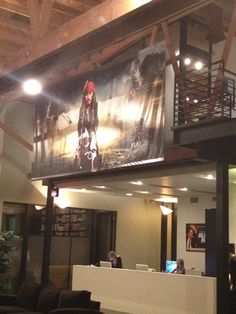 Captain Jack Sparrow watches over all the Jerry Bruckheimer Films employees