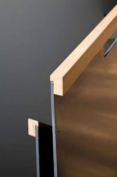 Stair railing metal and wood handrail flush dado detail Staircase Handrail, Stair Railing, Staircase Design, Wood Handrail, Wall Mounted Handrail, Open Staircase, Staircase Remodel, Staircase Ideas, Architecture Details