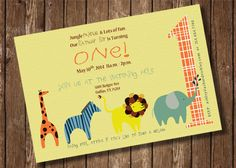 Animal Fun First Birthday Invitation