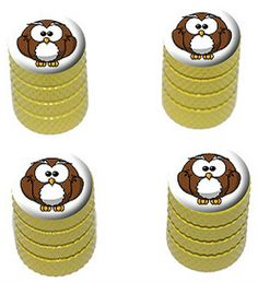 """Amazon.com : (4 Count) Cool and Custom """"Diamond Etching Cartoon Owl Top with Easy Grip Texture"""" Tire Wheel Rim Air Valve Stem Dust Cap Seal Made of Genuine Anodized Aluminum Metal {Yellow, White, and Brown Colors} : Sports & Outdoors"""