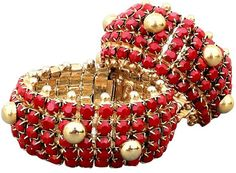 William de Lillo - Bracelet - Métal Doré et Strass Rouge - 1968