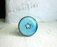 Blue and White Star Ring  Hand Painted Watercolor Art by jojolarue, $20.00