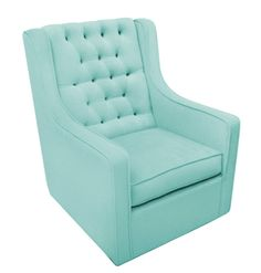 """""""Newco International Grand Glider in Bella Velvet Aqua Blue has a classic and timeless feel and style with the tufted back and velvet soft fabric. The glider swivels, glides and rocks for maximum comfort."""""""