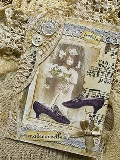 like how the doilies overlap.  I have a victorian shoe that would stamp nicely on a card like this
