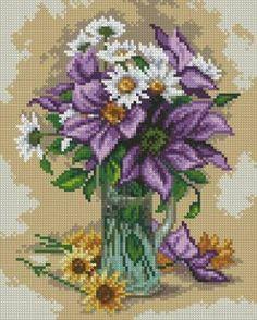 Цветы, натюрморты с цветами - Схемы вышивки - Иголка