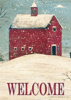 Welcome Winter Garden Flag from Just for Fun Flags. Winter Welcome design by artist Warren Kimble from Toland Home Garden flag collection. Primitive Painting, Primitive Folk Art, Tole Painting, Painting Tips, Pintura Country, Christmas Paintings, Christmas Art, Christmas Garden, Christmas Signs