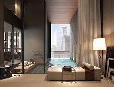 Soori High Line, SCDA Architects, High Line architecture, Soo Chan, interior swimming pool Luxury Pools, Luxury Condo, Luxury Home Decor, Luxury Apartments, Luxury Interior, Interior Design, Luxury Penthouse, Interior Exterior, Interior Architecture