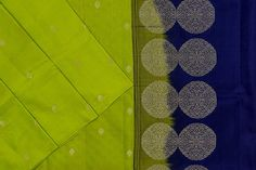 Bright green soft silk with deep blue paloo and blouse. Soft Silk Sarees, Silk Thread, Bright Green, Blue Blouse, Saree Blouse, Deep Blue, Pure Products, Fabric, Color