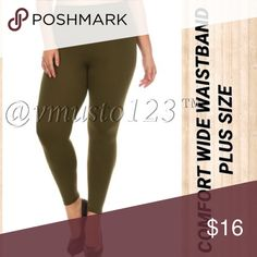 "PLUS  ARMYGREEN WIDE WAISTBAND FLEECE LEGGING ‼️PLUS SIZE ONLY‼️ AMAZINGLY COMFORTABLE FLEECE LEGGING - ARMY GREEN  I've never felt a more comfortable waist band!   Super soft, High waist fleece leggings with thick wide band for incredible tummy control!!!  95% Polyester, 5% Spandex  One size fits plus fits size  12-18  Inseam fits 26-33  *This model is wearing size Plus Size. *Measurements are 40Dx38x45 and height is 5' 10"" (177.8 cm) ValMarie Boutique Pants Leggings"