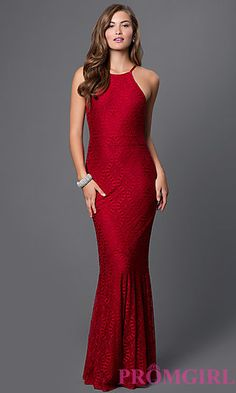 Long Burgundy Red Open Back Lace Prom Dress at PromGirl.com