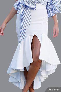 White Fashion Irregular Splited Flared Hem Skirt
