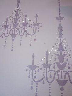 chandelier stencil. love the bling added on!
