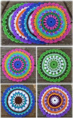 60 Free Crochet Mandala Patterns 60 Free Crochet Mandala Patterns - Page 12 of 12 - DIY Motif Mandala Crochet, Crochet Motifs, Crochet Potholders, Crochet Squares, Crochet Doilies, Crochet Flowers, Crochet Stitches, Cute Crochet, Crochet Crafts