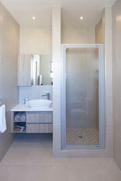 Residential Bathroom Vanity Design Mirror storage, 19 on Constant, Langebaan South Africa - Modern Bathroom Vanity Designs, Bathroom Vanity Cabinets, Building Contractors, White Granite, Timber Wood, Grey Glass, Storage Design, Marble Countertops, Glass Door
