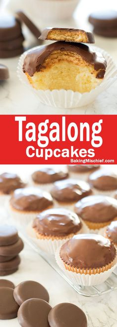 Tagalong Cupcakes - Delicious pound cake covered in peanut butter buttercream and dipped in chocolate. A perfect cupcake version of the Girl Scout's best cookie. Recipe includes nutritional information and small-batch instructions. From http://BakingMischief.com