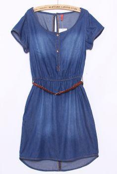 Dark Blue Short Sleeve Belt Back Split Denim Dress - Sheinside.com