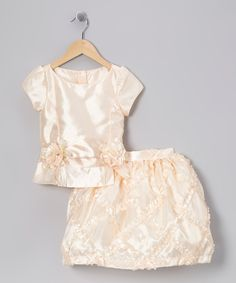 Pretty Me Peach Embroidered Top & Skirt - Toddler & Girls