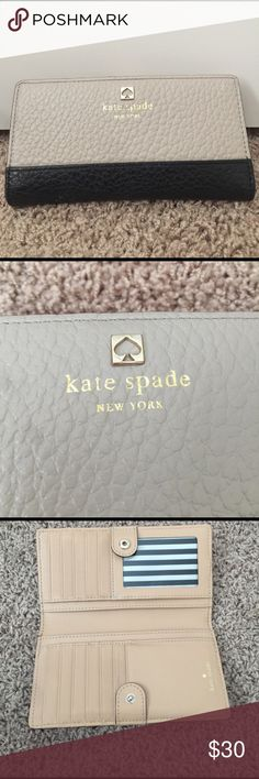 Classic. Chic. Versatile. Kate Spade ♠️ wallet Authentic. Excellent condition. Classic Kate Spade wallet. 6.5 in long and 3.5 inches tall. Cream and black combo is super chic. I'd actually call it a grey beige.  Super cute striped lining. kate spade Bags Wallets