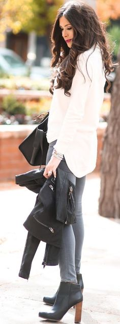 Nude, Gray And Black Fall Streetstyle Inspo by The Sweetest Thing