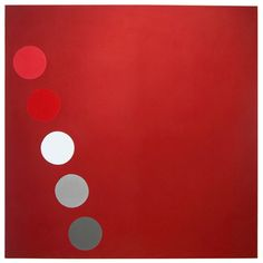 "Thomas Downing USA ""Phased Red"" by Thomas Downing signed, titled, and dated 1965 on the reverse Oil on canvas, 77"" x 77"" (195.5 cm x 195.5 cm)"