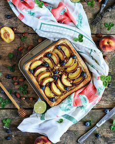 Puff pastry with almonds and peaches. I rolled out the puff pastry into the square shape, cut out the borders and poked the pastry with…