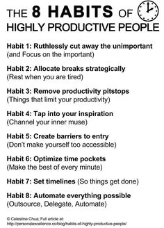 Inspirational Infographic: The 8 Habits of Highly Productive People