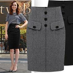 woolen new arrival solid color high waist woolen skirt slim bust slim hip step skirt Lace Dress Styles, Classy Work Outfits, Pencil Skirt Outfits, Skirt Patterns Sewing, Wool Skirts, Cute Skirts, Work Attire, African Fashion, Plus Size Fashion