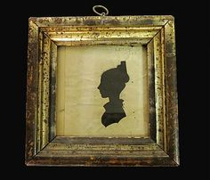 Framed cut-out silhouette of young girl, 19th century, Framed. Artfact archives