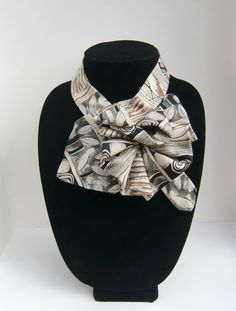 Ladies Upcycled Necktie Scarf / Eco Fashion Accessory / OOAK Ascot Scarflette in Beige, Black & Taupe