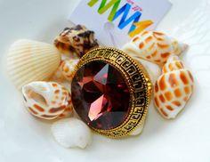 Big stone black/rose/beige ring
