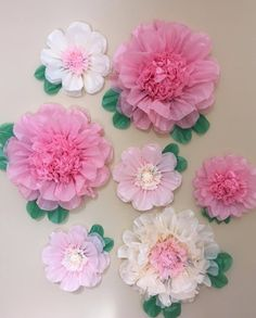 Set of 7 Giant and Large Paper Flowers - Perfect Decorations for Wedding,Birthday Party&Baby Shower Flores Bonitas de Papel Dibujo ? Paper Flower Art, Paper Flowers Craft, Large Paper Flowers, Hanging Flowers, Flower Crafts, Diy Flowers, Fabric Flowers, Paper Crafts, Diy Crafts