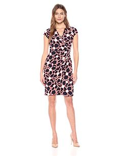 Maggy London Women's Short Sleeve Jersey Wrap Dress, Navy Red, 12   #FreedomOfArt  Join us, SUBMIT your Arts and start your Arts Store   https://playthemove.com/SignUp