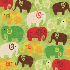 Floral Abstract Elephant Pattern Stock Vector - 5322926