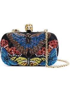 'Skull' sequined butterfly box clutch