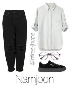 """""""Studying with Namjoon"""" by infires-jhope on Polyvore featuring Boutique, rag & bone and Puma"""
