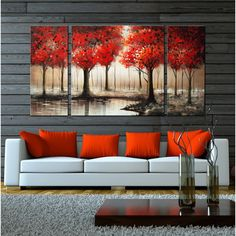 Hand-painted 'Through The Trees' Gallery-wrapped 3-piece Art Set - Overstock Shopping - Top Rated Canvas