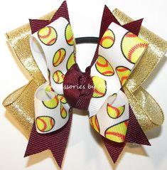 Softball Hair Bows, Cheer Bows, Gold Ribbons, Ribbon Bows, Maroon Hair, Softball Hairstyles, Metallic Colors, Baby Headbands, Barrette
