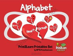 Alphabet Heart Break - product from RFTS-Preschool on TeachersNotebook.com  Children match the alphabet to pictures that begin with each letter. A fun Valentine theme set. Includes 26 letters, beginning sound pictures for each letter.