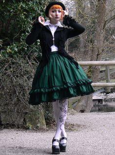 Dark Green Gothic Lolita Skirt by Rabbit Heart