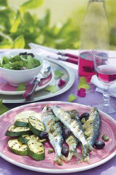 cenas ligeras verano sardinas con calabacin. Sardinas a la parrilla con calabacín asado Asparagus, Green Beans, Detox, Recipies, Pasta, Vegetables, Omega 3, Diabetes, Food