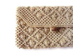 Vintage Crochet Clutch Purse, Cream Clutch Purse with Wooden Button, Bridal Accessory
