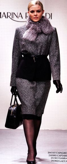 Absolutely stunning, even with fur (which I don't wear).  I want this outfit from the Marina Rinaldi Autumn/Winter 2013 line.  #MarinaRinaldi #AutumnWinter2013