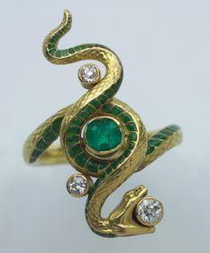 PAUL BRIANÇON  (c.1880-c.1910) Art Nouveau ring     Art Nouveau Snake Ring (c. 1900France)        ...