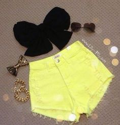 High waisted neon yellow shorts with black bow bandeau. So adorable!
