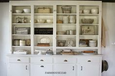 Farmhouse Friday - Ironstone, Crocks & Pottery - Knick of Time Farmhouse Chic, Vintage Farmhouse, Farmhouse Ideas, Cozinha Shabby Chic, Welsh Dresser, Kitchen Dresser, Kitchen Cabinets, Wall Cupboards, Cottage Kitchens